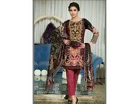Gul Ahmed three piece black embroidered silk velvet original unstitsched