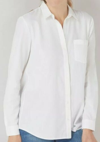 NEW WOMEN'S THE WHITE COMPANY COTTON WASHED WHITE BUTTON UP SHIRT BLOUSE US 6 Clothing, Shoes & Accessories