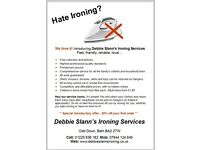 Debbie Slann's ironing services **CALL 01225 836182 or 07944124640**
