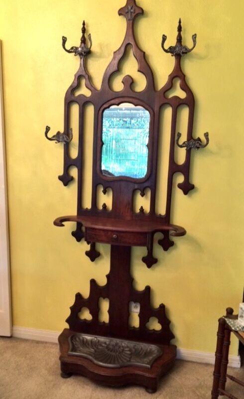 RARE Gothic Antique Christian Umbrella Hall Tree Pewter Bowl