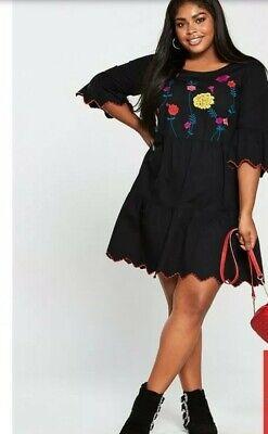 BNWT Junarose Black  Embroidered Tiered Dress UK 16 RRP £65