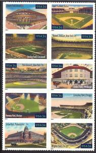 United-States-Scott-3510-3519Legendary-Playing-Fields-Stamps-Baseball-Stadium