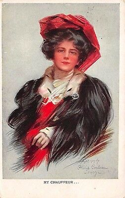 "Signed Philip Boileau, u. 1908 Pretty Lady Wearing Fur  Coat ""My Chauffeur"""