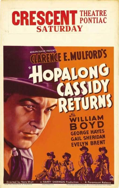 "HOPALONG CASSIDY RETURNS Movie POSTER 27x40 C William Boyd George ""Gabby"" Hayes"