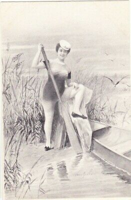 LADY in Old Fashioned SWIMSUIT Oar Boat Bathing Vintage u/b PC c1905