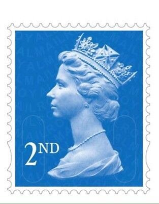 100 x 2nd Class Unfranked Stamps,No Gum ,Off Paper Stamps ,FV £56