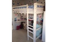 White wooden kids single cabin bed with integrated desk