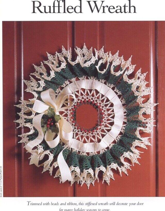 """Ruffled Wreath ~ 22/"""" wreath crochet pattern"""