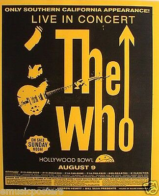 "THE WHO 2002 ""GREATEST HITS TOUR"" HOLLYWOOD BOWL CONCERT POSTER-Pete With Guitar"