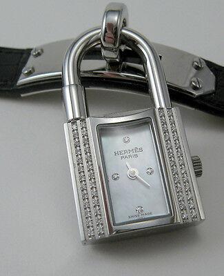 New Authentic Hermes  DIAMONDS Kelly Wrist Watch Crocodile strap, original Box