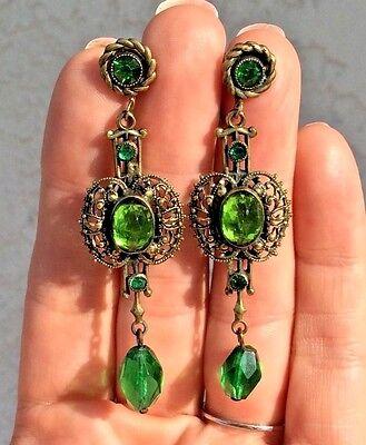Vintage Antique Art Nouveau Deco Czech Glass Jeweled Brass Filigree Earrings