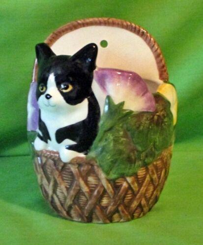 Vintage Takahashi San Francisco Japan Hand Painted Cat in Basket Wall Pocket