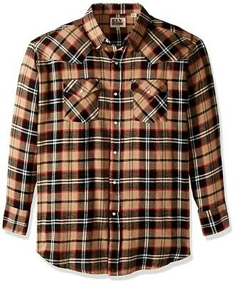 Ely Walker (Ely Cattleman & Walker Men's Long Sleeve Western Flannel Shirt Brown Plaid XXL)