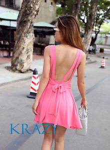 Black-White-Pink-Sexy-Backless-Clubbing-Skater-Short-Mini-Dress-S-M-L-6-8-10