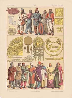 Skythen Parther Antike Trachten Schmuck LITHOGRAPHIE von 1883 Partherreich