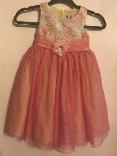 Rare Too! Girls Pink and White Tulle Party Ankle Length Dress Size 6 Polyester