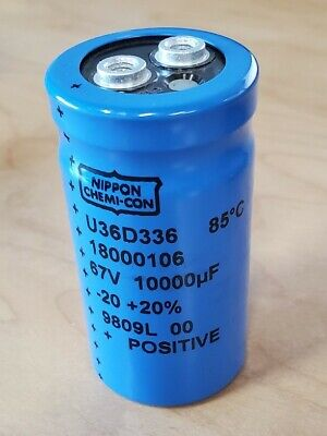 Nippon Chemi-con 67v 10000uf Electrolytic Can Capacitors Screw Terminal