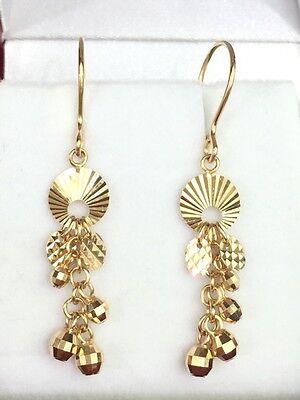 18k Solid Yellow Gold Ball Dangle Leverback Earrings, Diamond Cut 2.13 Grams Cut Dangle Yellow Gold Earrings