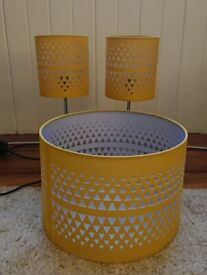 Yellow table lamp and lampshade