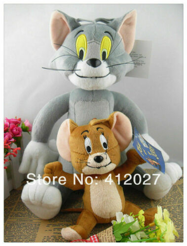 "2PCS Tom and Jerry Plush Dolls Soft Stuffed Animal Cartoon Toys 10"""