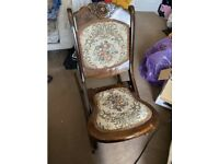 Vintage wooden and material rocking chair