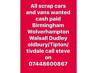 Scrap cars/vans/4x4s/caravans wanted cash paid 7 days a week