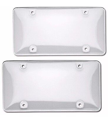 2pcs ABS Plastic Clear License Plate Tag Cover Frame Protector For US Car - Plastic Clear Plates