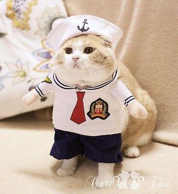 Pet Halloween Costume Sailor Uniform Suit Dog Cat Puppy Kitty Sea Serious - Serious Halloween Costumes