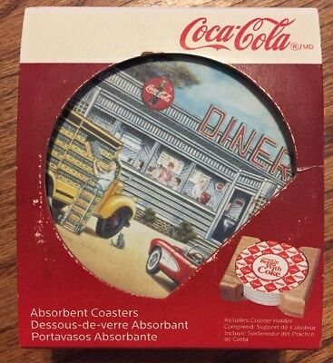 Rare COCA COLA DINER ABSORBANT Coasters & Wood Holder New NIB 2007 Collectible