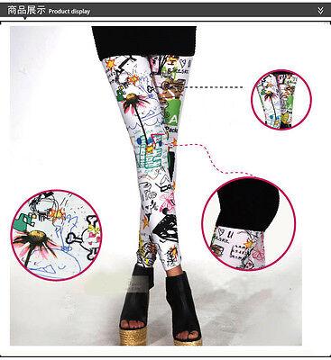 New Leggings Show Thin Flower Pants Graffiti Hand-Painted Splash-Ink Girls Hot