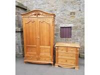 Ornate pine wardrobe/chest of drawers/bedroom set