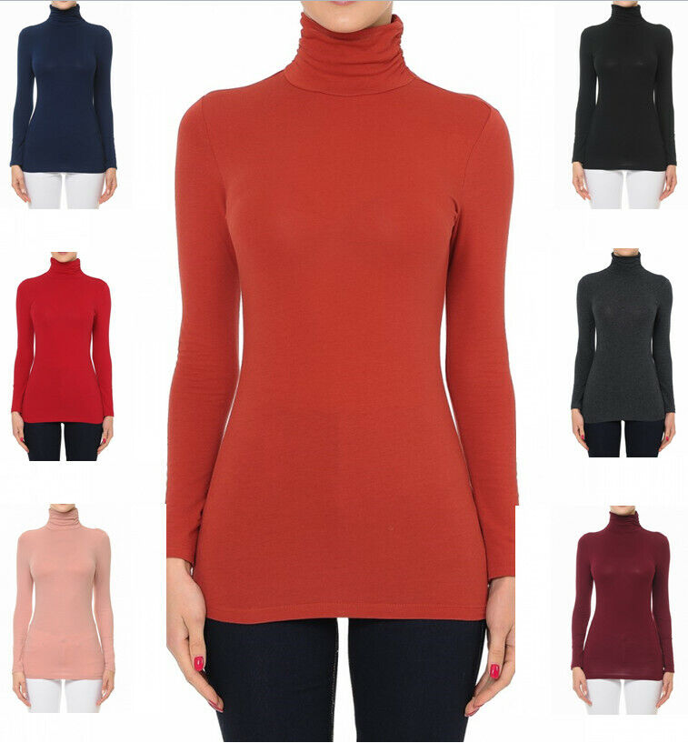 Women's Funnel Neck Turtle Neck Long Sleeve Cotton Jersey Top Clothing, Shoes & Accessories