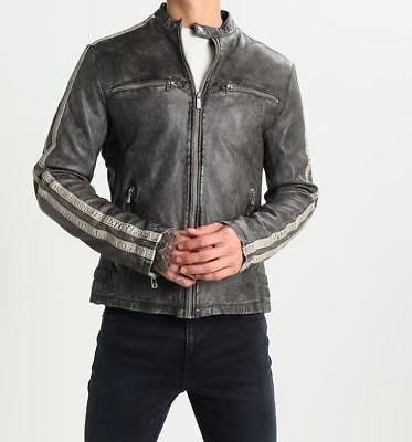 Mens Motorcycle Distressed Hooligan Leather Jacket Bikers Casual Fashion