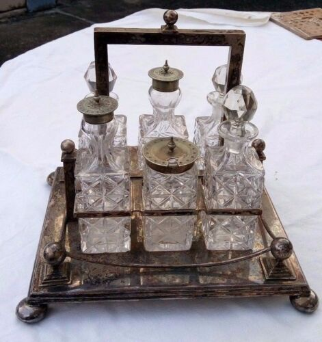ANTIQUE ENGLISH SILVER PLATED & GLASS 6 PCS CONDIMENT SET.