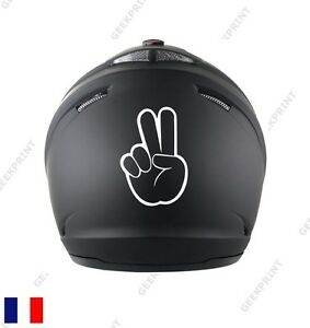 sticker autocollant casque moto signe motard main v croisement ebay. Black Bedroom Furniture Sets. Home Design Ideas