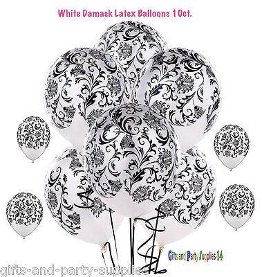 White Damask Latex Balloons  Birthday, wedding, Anniversary Party Supplies ~10ct - Damask Balloons