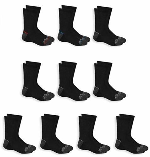 Fruit of the Loom Black Boys 10-Pair Half Cushion Crew Socks LG shoe size 3-9