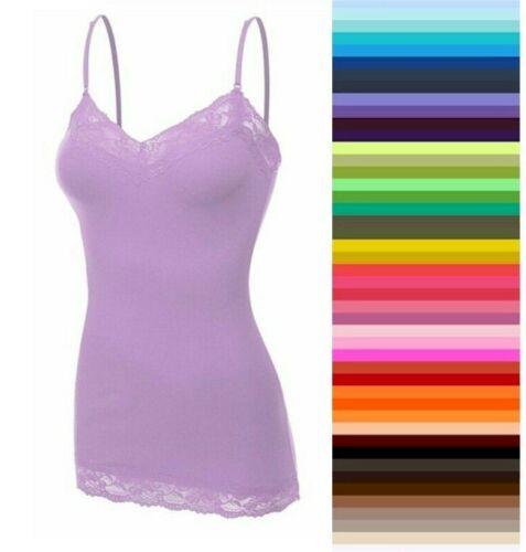 Bozzolo Womens Plus Size Lace Tank Top Cami Long Layering Basic XL/1X/2X/3X  USA