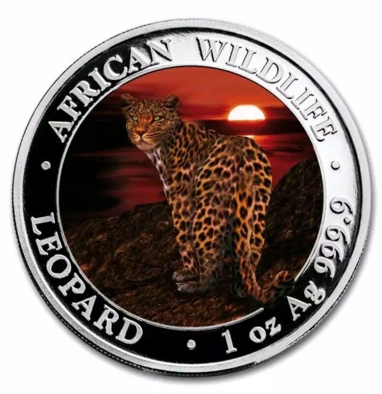 2018 SOMALIA LEOPARD Colorized 1oz .999 Silver Coin - 100 Pcs - BOX & COA