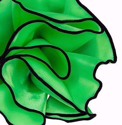 NEW $45- Pocket square Round Handkerchief - GREEN Silk BLACK Trim Piping edge