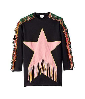 Stella McCartney Kids Star Patch and Fringe Sweatshirt Dress, Big Girl's Size 12