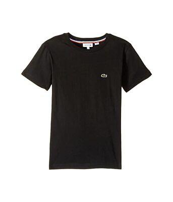 Lacoste Kids Short Sleeve Solid Crew T-Shirt Black Boy's Size 12 0910