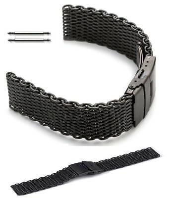 Black Steel Metal Shark Mesh Bracelet Watch Band Strap Double Locking Clasp 5032 Black Mesh Bracelet Watch
