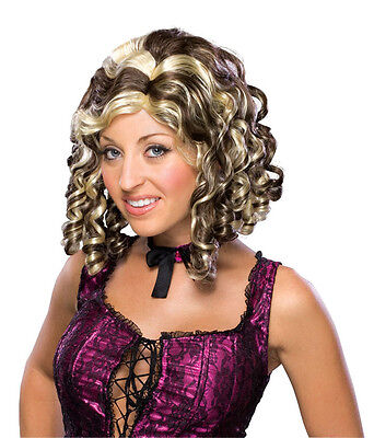 Chin Length Curly Wig - Womens Curly Brown Wig Short Chin Length Hair Streaked Curls Blonde Wavy Adult