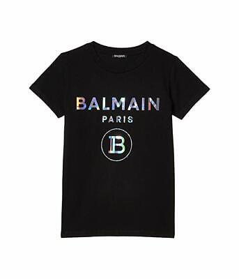 Balmain Kids Short Sleeve Tee W/ Holographic Logo, Little Kid's Size 4 Black NEW