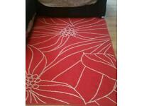 Lovely large red and white rug