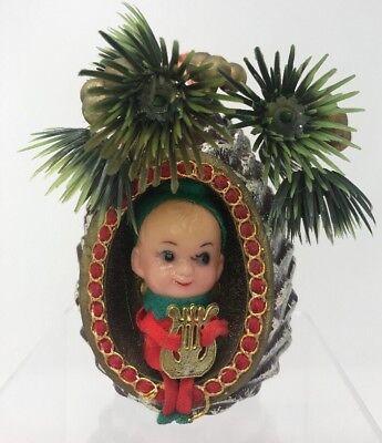Vintage Pixie Elf Diorama Scene Ornament Plastic Christmas Decor - Elf Scenes