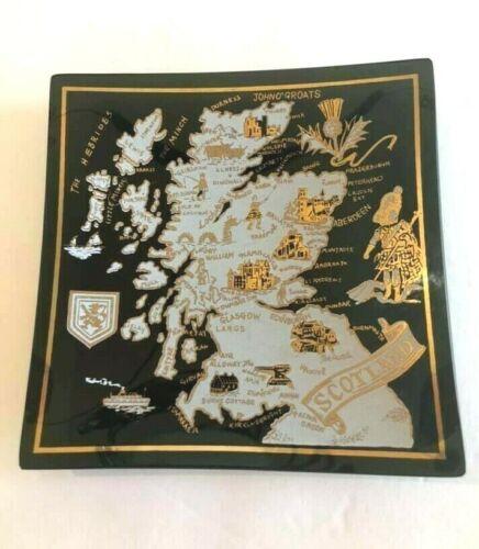 Scotland  Smoked Square Glass Ashtray Souvenir (Houze)