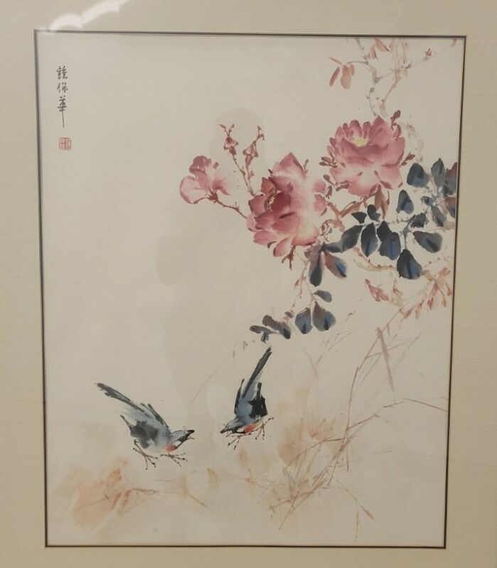 Chinese  watercolor cherry blossoms and birds chung pao hua