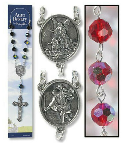Catholic Rosary AUTO Rear View Mirrors Saint Christopher Guardian Angel Ruby Red